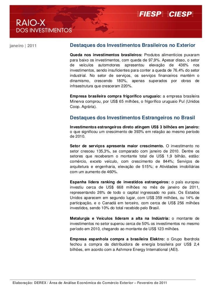 janeiro | 2011                  Destaques dos Investimentos Brasileiros no Exterior                                Queda n...