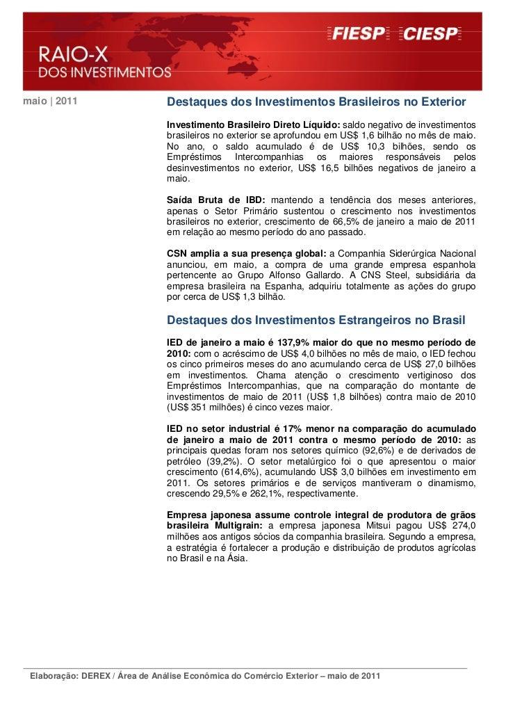 maio | 2011                     Destaques dos Investimentos Brasileiros no Exterior                                Investi...