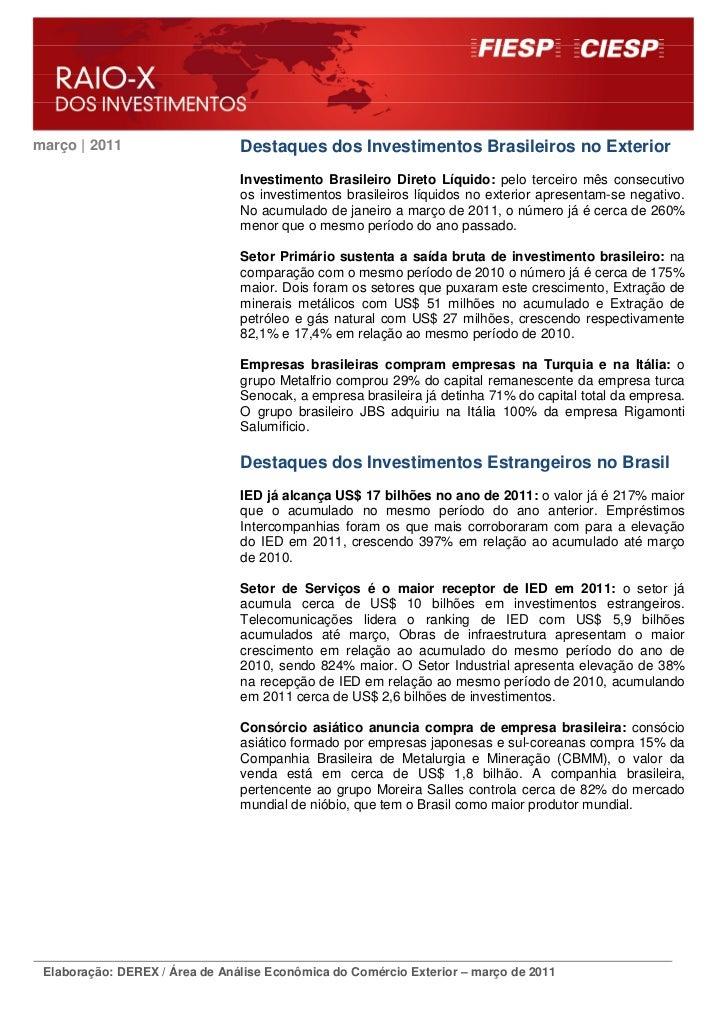 março | 2011                    Destaques dos Investimentos Brasileiros no Exterior                                Investi...