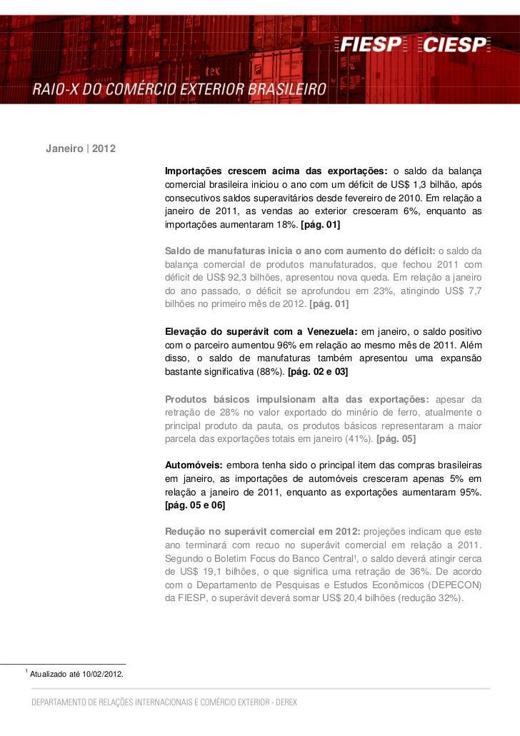 Janeiro | 2012                                 Importações crescem acima das exportações: o saldo da balança              ...