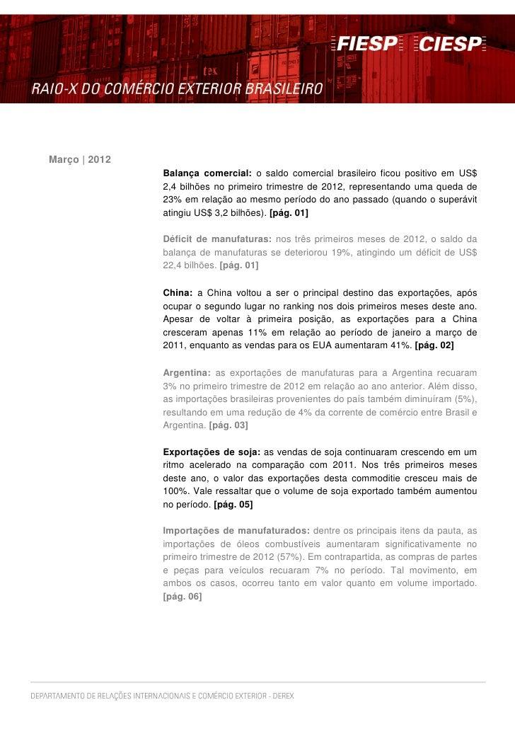 Março | 2012               Balança comercial: o saldo comercial brasileiro ficou positivo em US$               2,4 bilhões...
