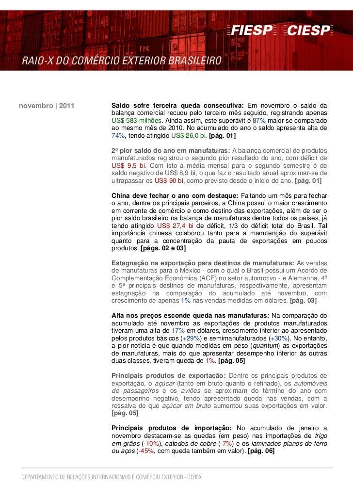 novembro | 2011   Saldo sofre terceira queda consecutiva: Em novembro o saldo da                  balança comercial recuou...