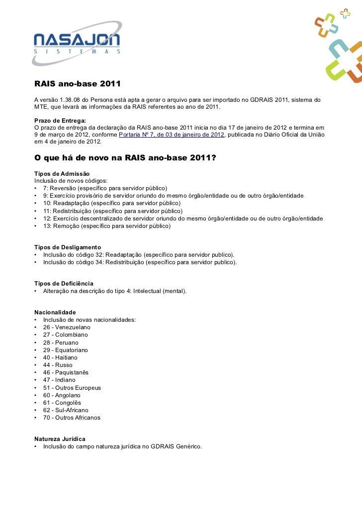 RAIS ano-base 2011A versão 1.38.08 do Persona está apta a gerar o arquivo para ser importado no GDRAIS 2011, sistema doMTE...