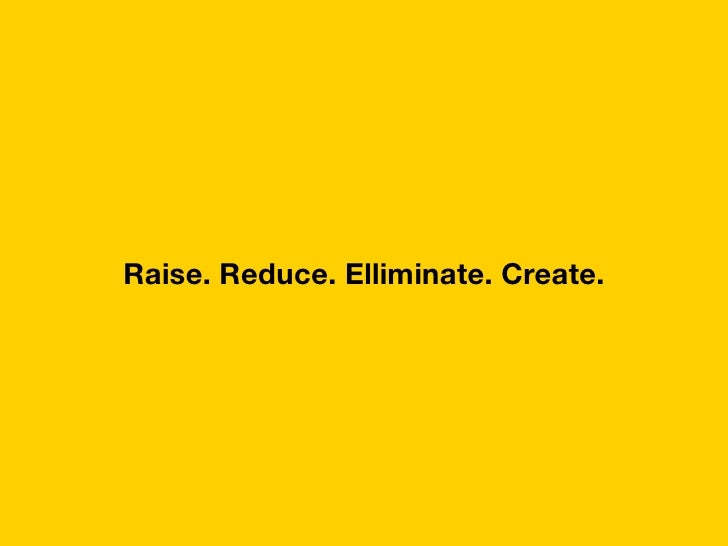 Raise. Reduce. Elliminate. Create.