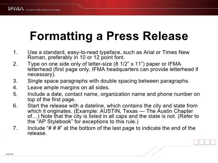 Template For A Press Release
