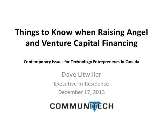 Venture capital and tech coast angels