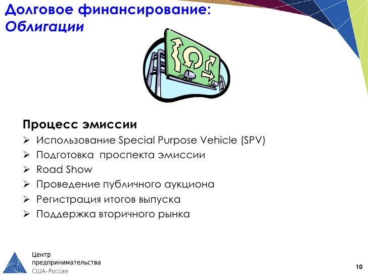 Долговое финансирование:Облигации  Процесс эмиссии     Использование Special Purpose Vehicle (SPV)     Подготовка проспе...