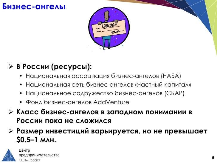 Бизнес-ангелы  В России (ресурсы):   •   Национальная ассоциация бизнес-ангелов (НАБА)   •   Национальная сеть бизнес анг...