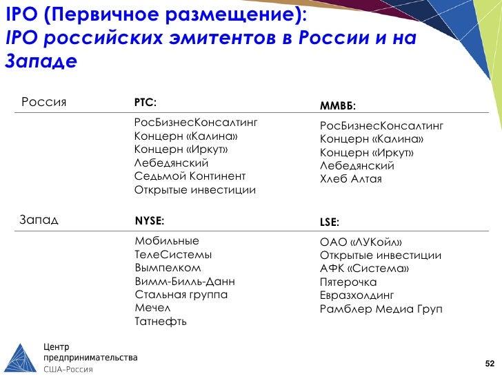 IPO (Первичное размещение):IPO российских эмитентов в России и наЗападе Россия    РТС:                  ММВБ:           Ро...