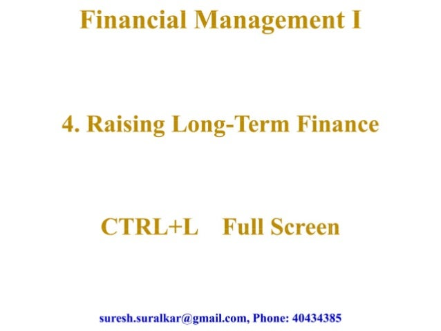 Raising long term finance theory