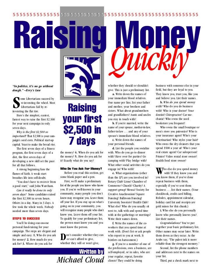 "5555555555555555555555555555555555555555555555555555555 Raising Money""In politics, it's no go without                     ..."