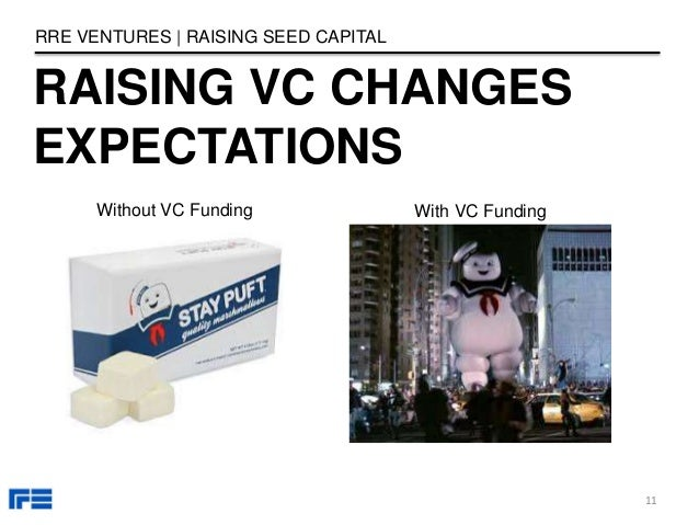 RAISING VC CHANGES EXPECTATIONS RRE VENTURES   RAISING SEED CAPITAL 11 With VC FundingWithout VC Funding