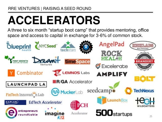 """ACCELERATORS RRE VENTURES   RAISING A SEED ROUND 25 A three to six month """"startup boot camp"""" that provides mentoring, offi..."""