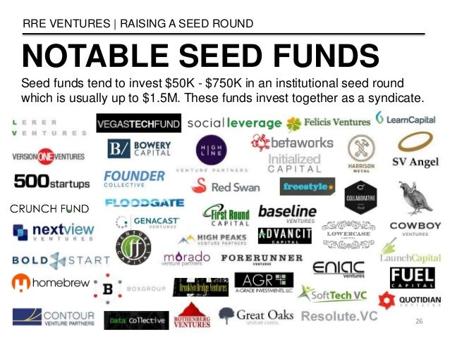 NOTABLE SEED FUNDS RRE VENTURES   RAISING A SEED ROUND 26 Seed funds tend to invest $50K - $750K in an institutional seed ...