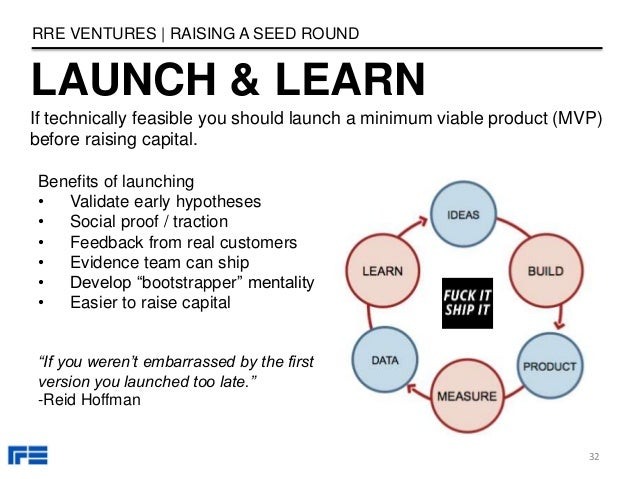 LAUNCH & LEARN RRE VENTURES   RAISING A SEED ROUND If technically feasible you should launch a minimum viable product (MVP...