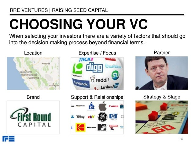 Location Expertise / Focus Partner Brand Support & Relationships Strategy & Stage CHOOSING YOUR VC RRE VENTURES   RAISING ...