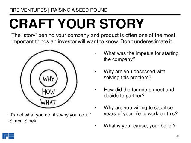 """CRAFT YOUR STORY RRE VENTURES   RAISING A SEED ROUND The """"story"""" behind your company and product is often one of the most ..."""
