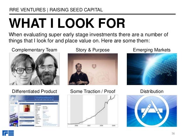 WHAT I LOOK FOR Complementary Team Story & Purpose Differentiated Product Some Traction / Proof Emerging Markets RRE VENTU...