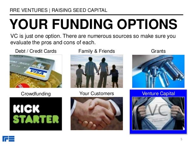 YOUR FUNDING OPTIONS Debt / Credit Cards Family & Friends Crowdfunding Your Customers Grants RRE VENTURES | RAISING SEED C...