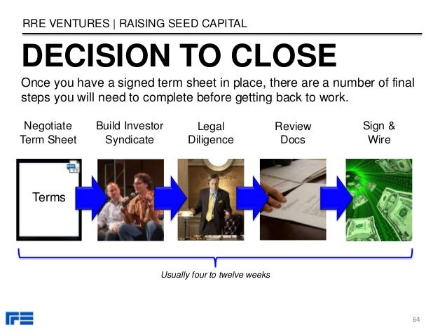 Terms DECISION TO CLOSE RRE VENTURES   RAISING SEED CAPITAL 64 Once you have a signed term sheet in place, there are a num...