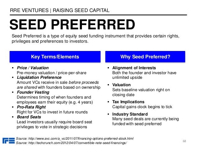 SEED PREFERRED RRE VENTURES   RAISING SEED CAPITAL 68 Seed Preferred is a type of equity seed funding instrument that prov...