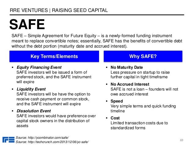 SAFE RRE VENTURES | RAISING SEED CAPITAL 69 SAFE – Simple Agreement for Future Equity – is a newly-formed funding instrume...