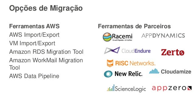 Opções de Migração Ferramentas AWS AWS Import/Export VM Import/Export Amazon RDS Migration Tool Amazon WorkMail Migration ...