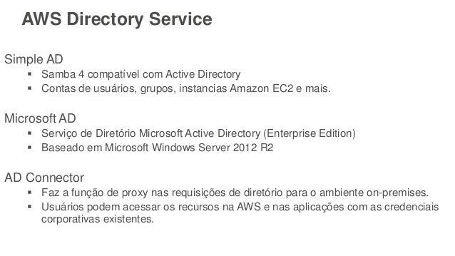 AWS Directory Service Simple AD  Samba 4 compatível com Active Directory  Contas de usuários, grupos, instancias Amazon ...