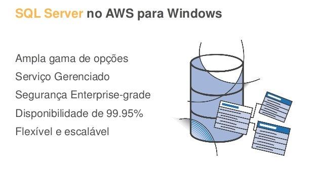 SQL Server no AWS para Windows Ampla gama de opções Serviço Gerenciado Segurança Enterprise-grade Disponibilidade de 99.95...