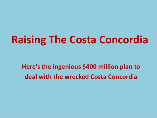 Raising The Costa Concordia  Heres the ingenious $400 million plan to   deal with the wrecked Costa Concordia