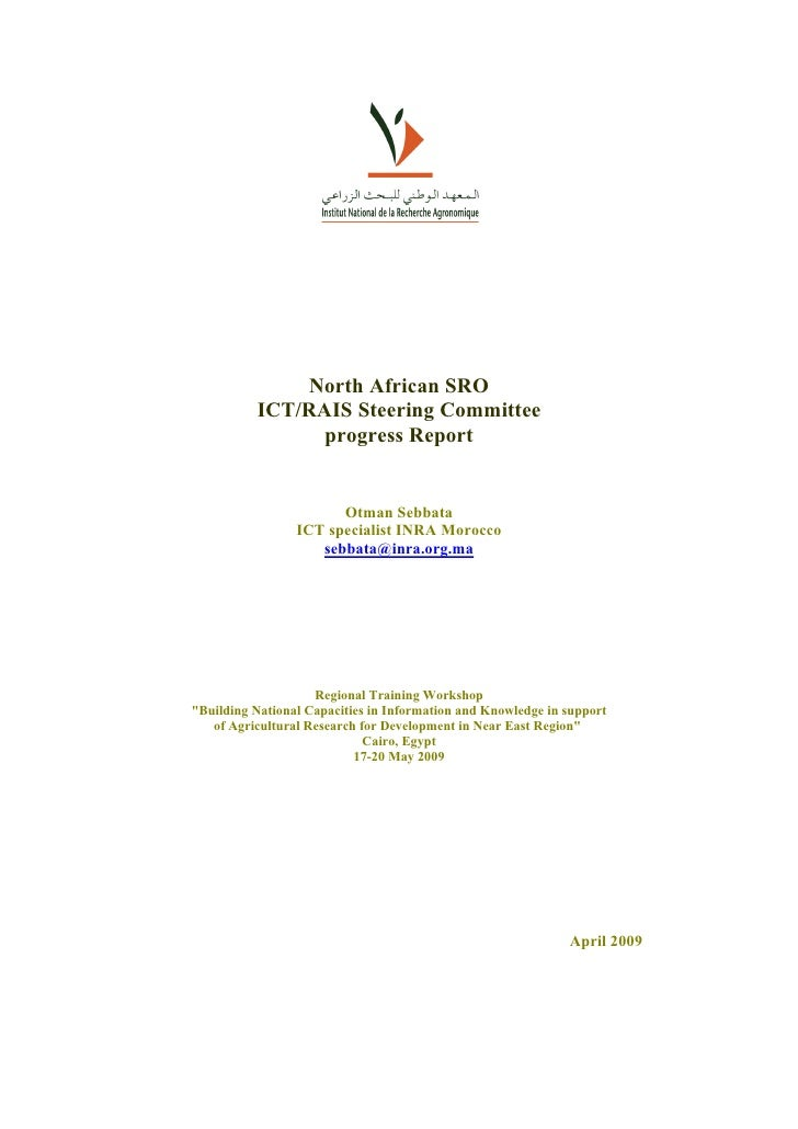 North African SRO           ICT/RAIS Steering Committee                 progress Report                          Otman Seb...