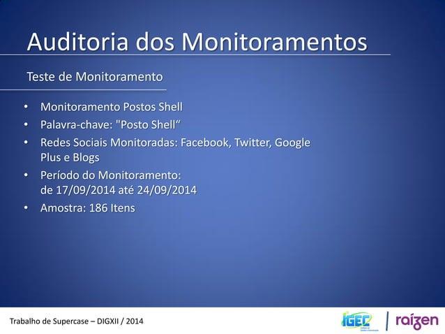 Auditoria dos Monitoramentos  Trabalho de Supercase – DIGXII / 2014  Média de 26,5 menções por dia Média estimada em um mê...