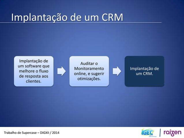 Implantação de um CRM  Trabalho de Supercase – DIGXII / 2014  CRM pra que?  Com a ajuda de um sistema de CRM, ligado ao SA...