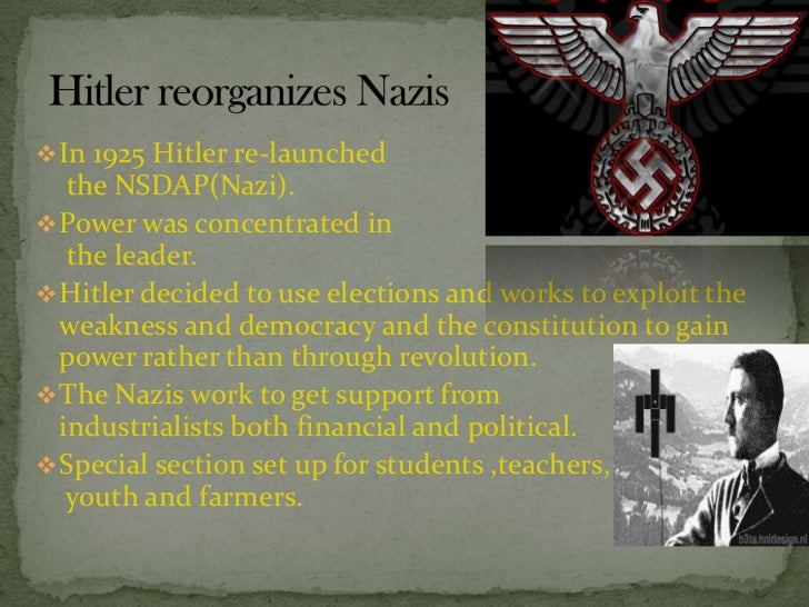 why did hitler and nazi party lose support 1924 1929 The nazi party policies were deliberately vague so they might appeal to as many   after losing territories at versailles, the nazis wanted lebensraum (living   after benefits were cut in 1930, hitler used fear of communism to get support  from.