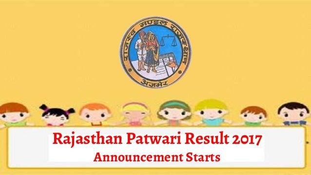 Rajasthan Patwari Result 2017 Announcement Starts