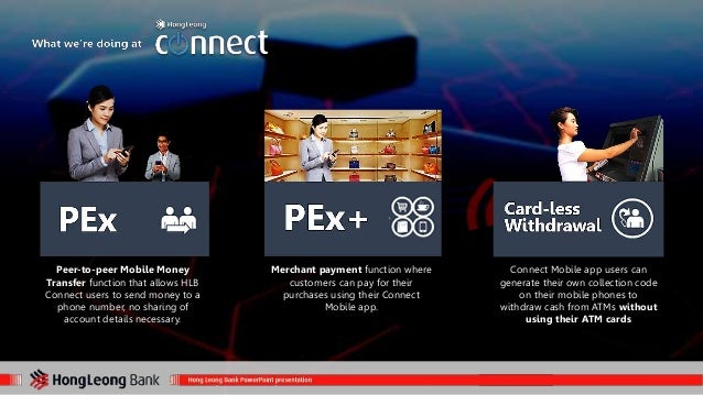 Peer-to-peer Mobile Money  Transfer function that allows HLB  Connect users to send money to a  phone number, no sharing o...