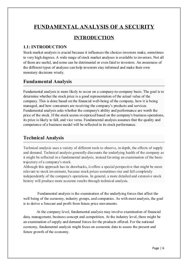 Fundamental Analysis Of Securities