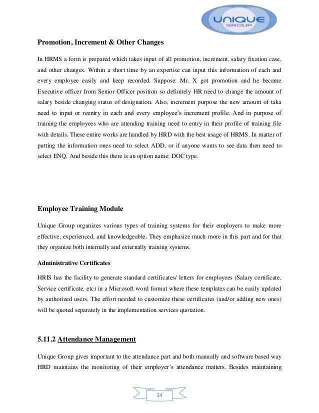 internship report on hris