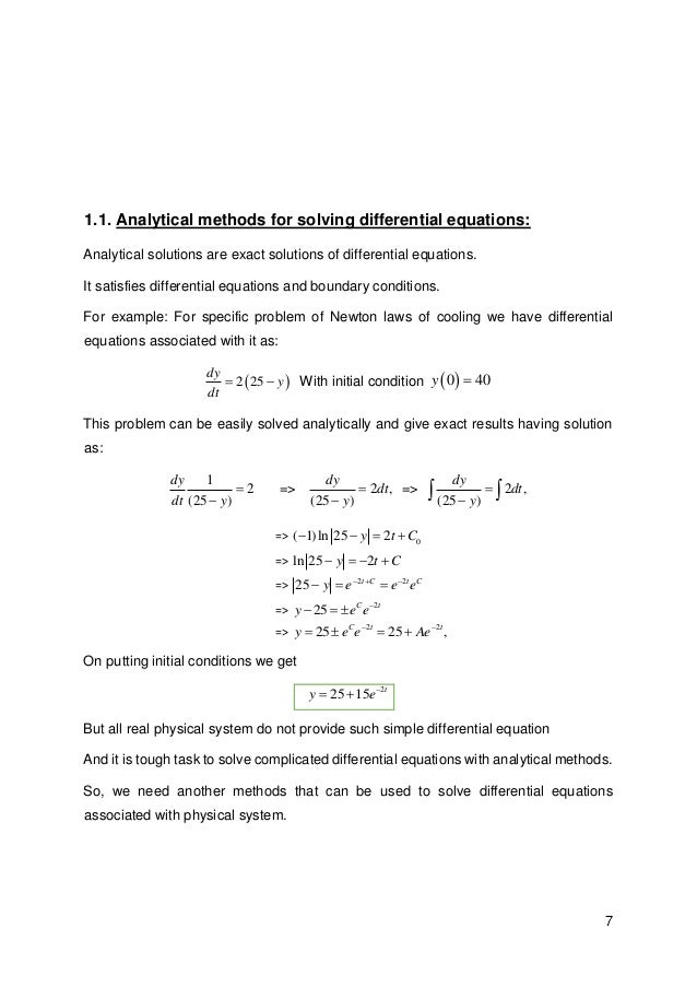 Spectral methods for solving differential equations