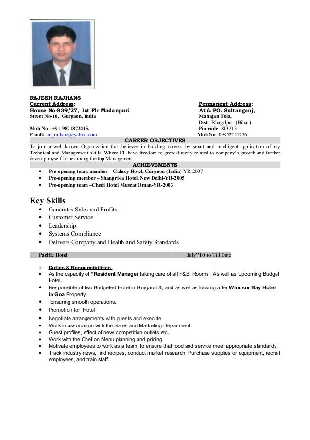 RAJESH RAJHANSCurrent Address: ...  Hotel Resume