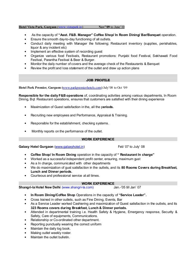 sample resume hotel management fresher templates - Sample Resume Operations Manager