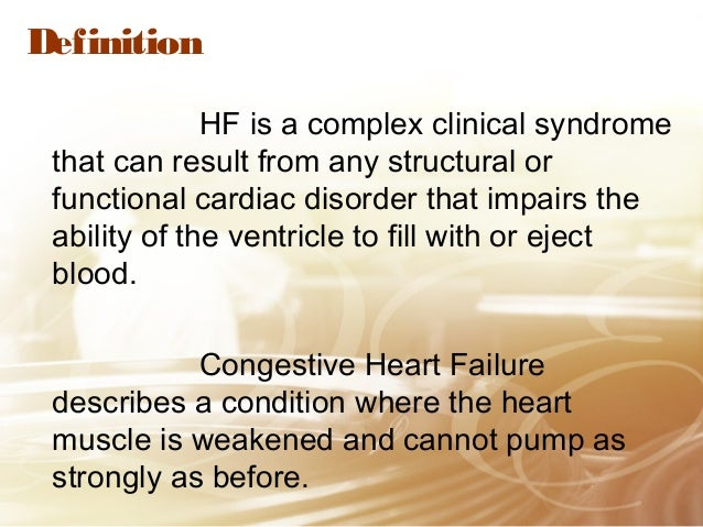 patient with congestive heart failure Heart failure, or congestive heart failure (chf), means the heart can't pump enough blood learn about the signs, symptoms and causes.