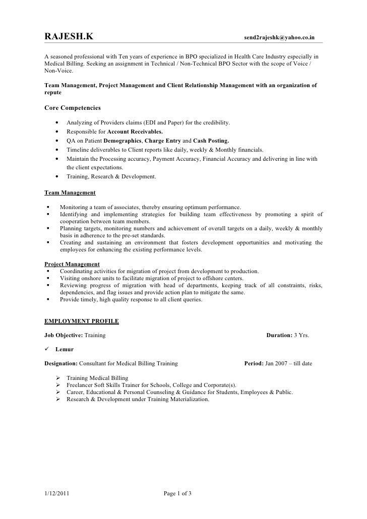 bpo sample resume