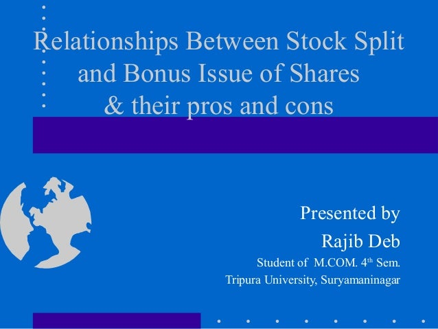 Split share and bonus issue of