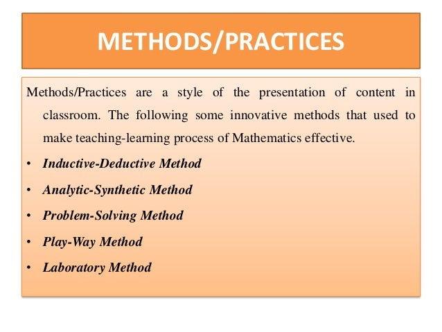 Innovative Classroom Training Methods ~ Role of innovative practices and methods in mathematics