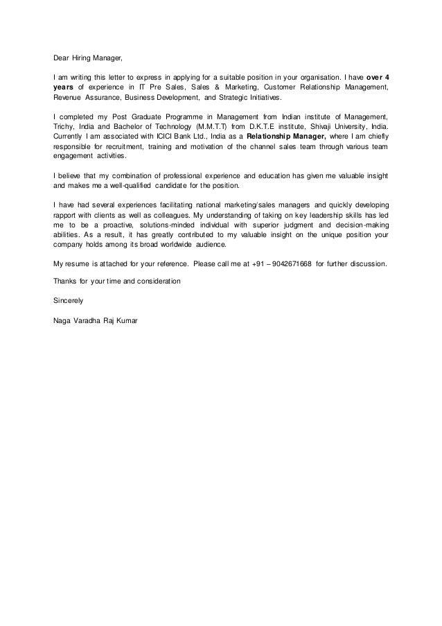 Raj kumar cover letter