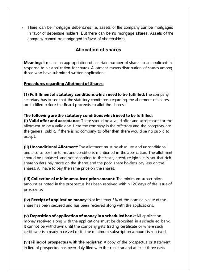 secretarial duties regarding transfer of shares
