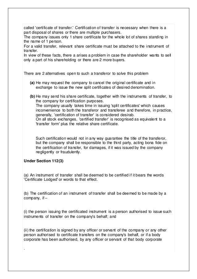 shares – Company Share Certificates
