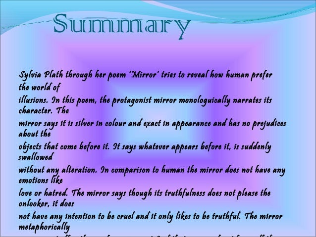 mirror by sylvia plath summary