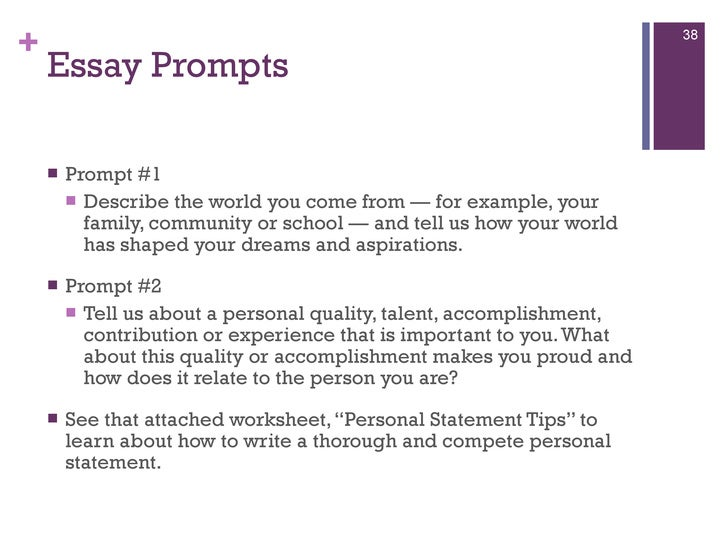 uc world you come from essay The purpose of the uc personal statement: it is one part of the entire application review process prompt 1: describe the world you come from - for example.